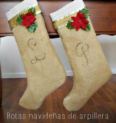 Manualidades: Botas de arpillera de Navidad - Paso a paso (muy fáciles)
