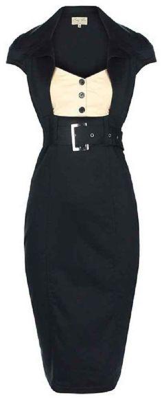 LINDY BOP 'WYNONA' CHIC VINTAGE 1950's SECRETARY STYLE BLACK PENCIL WIGGLE DRESS WORK / OFFICE