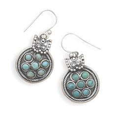 Oxidized sterling silver rope and bead design french wire earrings with seven 4mm turquoise stones. $99
