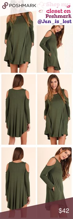 COMING SOON  Cold Shoulder Dress with Side Pocket Details and Rounded Hemline Color: Olive Dresses