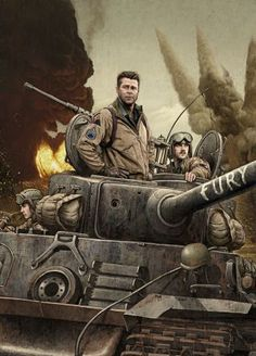 "David Ayer's new film, starring Logan Lerman, Brad Pitt, and Shia LaBeouf, ""is one of the great war movies—right near the top,"" David Denby writes. Read the full ""Fury"" review: http://nyr.kr/11J61q1 (Illustration by Rory Kurtz)"