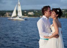 Wedding photography on a catamaran on the shores of Barbados