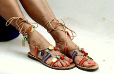 Tie up  leather sandals decorated with by ElinaLinardaki on Etsy