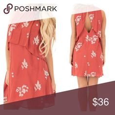 """Coral Sleeveless ruffled dress with deep V back This Coral Sleeveless Ruffled Dress with Deep V Back is a sweet and simple floral frock with a flirty open back surprise. Dainty taupe florals are contrasted beautifully with fresh, coral color, while the pleated bust overlay creates a center split deep v neck keyhole when you turn around! Large size is 36"""" long and bust is 41"""". Dresses Midi"""