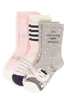 Tucker + Tate 'Snow Kitty' Socks (3-Pack) (Toddler & Little Kid) available at #Nordstrom
