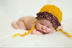 Mustard Baby Bonnet Baby Photography Prop Photo Prop by 224Locust