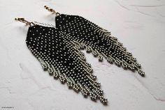 Black and siver earrings tassel beaded earrings silver