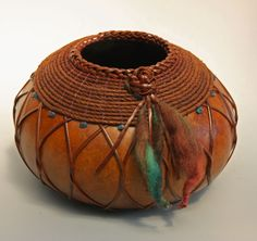 Dyed Gourd with leather and coiled Danish Cord from Susan Ashley - txweaver.com.