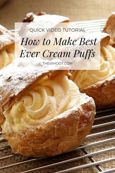 creme puff Learn how to make the best ever cream puffs recipe. We have a video tutorial to show you how plus we feature some other favorite versions. Smores Dessert, Cream Puff Filling, Easy Cream Puff Recipe, Custard Cream Puffs Recipe, Recipe For Cream Puffs, Eclair Filling Recipe, Vanilla Cream Filling Recipe, Italian Pastry Cream Recipe, Goodies