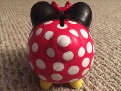 Disney Minnie Mouse Hand Painted Ceramic Piggy Bank Medium Red or Pink Pottery Painting, Ceramic Painting, Pottery Art, Minnie Mouse, Mickey Mouse And Friends, Diy And Crafts, Crafts For Kids, Personalized Piggy Bank, Red Images