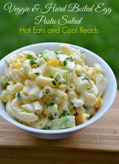 Hot Eats and Cool Reads: Veggie and Hard Boiled Egg Macaroni Salad Recipe at Table for Seven