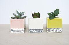- Mini Square Planter with Herringbone Pattern Single by ebenotti @ Etsy Ceramic Flower Pots, Ceramic Pots, Terracotta Pots, Clay Pots, Pastel Interior, Square Planters, Recycled Garden, Play Clay, Ceramic Painting