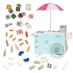 Our Generation Retro Hot Dog Cart : Target Og Dolls, Girl Dolls, Hot Dog Wagen, Hot Dogs, Our Generation Doll Accessories, Poupées Our Generation, American Girl Doll Sets, American Girl Crafts, Accessoires Barbie