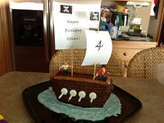 Cakes I've made: a homemade pirate cake for Ethan's 4th birthday (pirate themed party). Made the cake with no eggs, since he is allergic. Frosted with homemade chocolate buttercream.