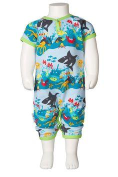 Underwater creature themed organic unisex baby shortie romper by JNY Design. Unisex Baby, Playsuit, Underwater, Capri Pants, Men Casual, Rompers, Mens Tops, Collection, Design