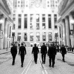 Groomsmen walking to