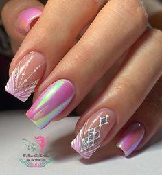 Love Nails, Pink Nails, Pretty Nails, My Nails, Manicure Nail Designs, Toe Nail Designs, Nail Manicure, New Nail Art Design, Square Acrylic Nails