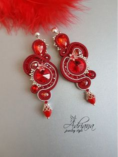 Red Cherry Soutache Earrings In Silver Crystal Beads, Swarovski Crystals, Soutache Earrings, Bubble Envelopes, Silver Pendant Necklace, Jewelry Necklaces, Jewellery, Seed Beads, Red Leather