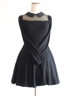 titty&Co Winter See-through Preppy Jet-black Dress OP gyaru Lolita SizeF Japan #tittyCo #Peplum #Casual