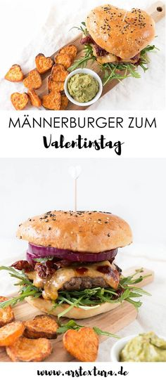Homemade burgers for Valentine& Day ars textura - DIY-B .- Burger recipe for men: with self-righteous buns and DIY barbecue sauce – the absolute highlight for Valentine& Day are the delicious heart fries - Diy Barbecue, Barbecue Sauce Recipes, Pork Barbecue, Bbq Ribs, Best Homemade Burgers, Homemade Buns, Homemade Ramen, Homemade Vanilla, Healthy Burger Recipes