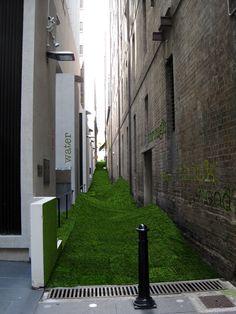 Artificial turf laneway