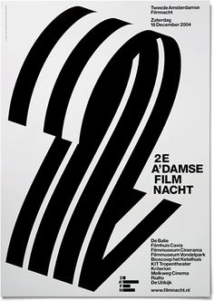 Second Amsterdam Film Night (2AFN)  |   Abstracted strips of film turned into a large numeral 2.  |  Designed by Experimental Jetset, a small, independent graphic design studio based in Amsterdam.