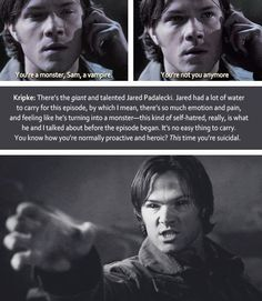 [gifset] Wirter/Director Eric Kripke on Jared, DVD commentary SPN Nicole I have to rewatch this now with this in mind! You may just turn me into a Sam girl yet. Sam Winchester, Eric Kripke, Supernatural Memes, Superwholock, Jared Padalecki, Super Natural, Destiel, Wedding Humor, Funny Art