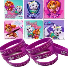 24 Paw Patrol Girl Pups Skye Everest Stickers & 12 Paw Party Favor Wristbands