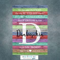 Originaldruck - Kunstdruck ERZIEHERIN DANKE Kind BUNT - ein Designerstück von easy-lovely-art bei DaWanda