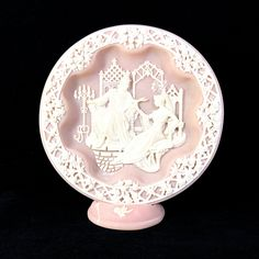 Plate Wall Decor with Macbeth Pink Cameo Design by Incolay, Vintage Wall Art, Collectible Decorative Plate with Stand