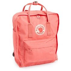 Fjallraven 'Kanken' Water Resistant Backpack (655 NOK) ❤ liked on Polyvore featuring bags, backpacks, peach pink, water resistant bag, water resistant rucksack, red bag, fjallraven bag and pink bag