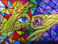 This artwork demonstrates that the deaf culture have to use their sense of seeing. The ear is in front of dark, gloomy colors while the eye is in front of vibrant colors.