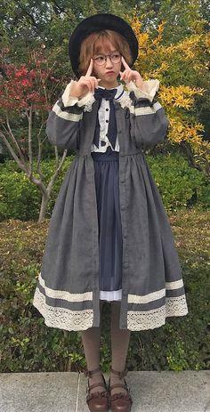 Star Fantasy -Peter Pan- OP Dress and Collar Set,Lolita Dresses, Harajuku Fashion, Kawaii Fashion, Lolita Fashion, Cute Fashion, Fashion Outfits, Fashion Styles, Vintage Dresses, Vintage Outfits, Mode Lolita