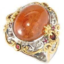 Michael Valitutti Two-tone Hessonite Garnet and Orange Sapphire Ring