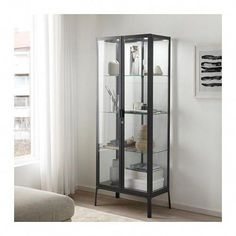 MILSBO Glass-door cabinet, anthracite, 28 Some storage solutions are used to hide things. Not MILSBO glass-door cabinet. Bathroom Styling, Bathroom Storage, Small Bathroom, Neutral Bathroom, Bathroom Ideas, Ikea Storage Cabinets, Bathroom Cabinets, Display Cabinets, Bathroom Doors