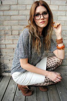 nerd glasses + pattern tights.
