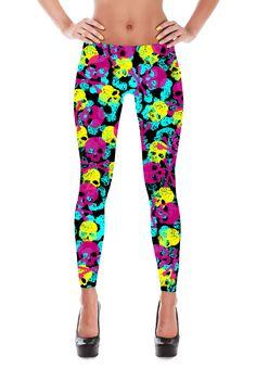 Skull Leggings - Skull Costume - Halloween leggings - Suicide Squad - Harley Quinn - Yoga Leggings - Patterned Leggings - Womens Leggings
