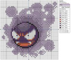 Today's pattern features none other than the original ghost pokémon, Gastly! It's made from poisonous gas, it can make you faint, send you to sleep, suffocate you, poison you, but how can you be scared of that smile? Especially when it loves to play pranks!