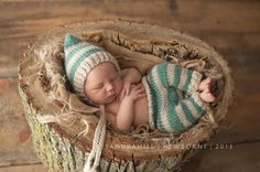 Newborn Photography Striped Pants and Pixie Set by goodnightmouse on Etsy, $67.00