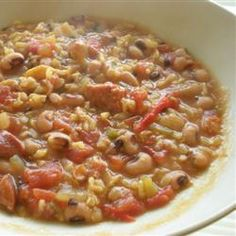 Black-Eyed Pea Gumbo Allrecipes.com (was a great new year's dish! but not as healthy once i added the cajun sausage!)