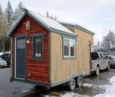 A 150 square feet tiny house on wheels built using reclaimed materials in Portland, Oregon