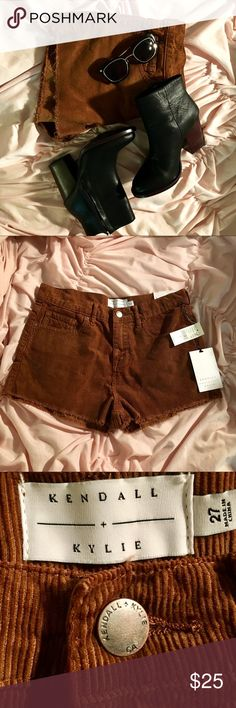 """NWT Kendall+Kylie High Rise Corduroy Shorts Sz 27 Brand New Kendall + Kylie Brown High Rise Corduroy Shorts Size 27! The waistband measures 14.5"""" across the front. It has a 2"""" inseam and a rise of 10"""". These are so cute I wish they fit me. They would look awesome paired with some Black Booties and some sunnies! Kendall & Kylie Shorts"""