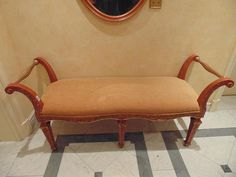 Lot 447 - French Louis XVI style mahogany and giltwood window bench scroll arms with upholstered seat pad