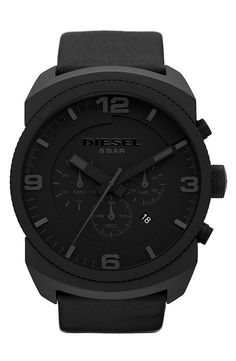 DIESEL® Round Dial Chronograph Leather Strap Watch