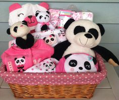 Precious Panda Baby Gift Basket by FiveBrownMonkies  perfect baby shower gift for baby girl