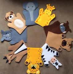 Safari Animals , Felt Puppets , Safari Puppet Play Set - Adult, Kid, AND Finger Puppet Sizes - Sold Individually or as a Set Felt Puppets, Puppets For Kids, Felt Finger Puppets, Puppet Patterns, Felt Patterns, Safari Animals, Felt Animals, Animal Hand Puppets, Operation Christmas Child