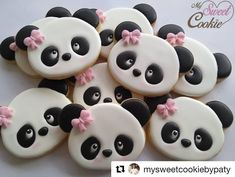 Panda Birthday Cake, 18th Birthday Party, Birthday Cookies, Bear Cookies, Sweet Cookies, Cut Out Cookies, Royal Frosting, Cookie Frosting, Bolo Panda