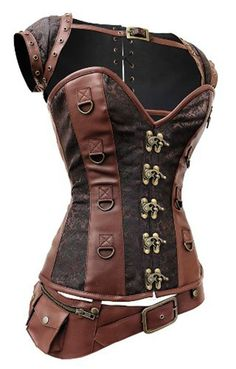 Camellias Women's Retro Goth Brocade Steampunk Overbust Corset with Jacket and Blet, SZ3864-Brown-M at Amazon Women's Clothing store: