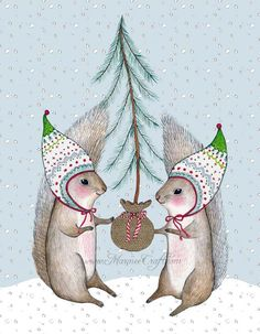 Christmas squirrel holiday art print Merry Little by MarmeeCraft, $18.00