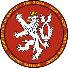 Features the coat of arms of the Kingdom of Bohemia for which Jan Zizka fought.